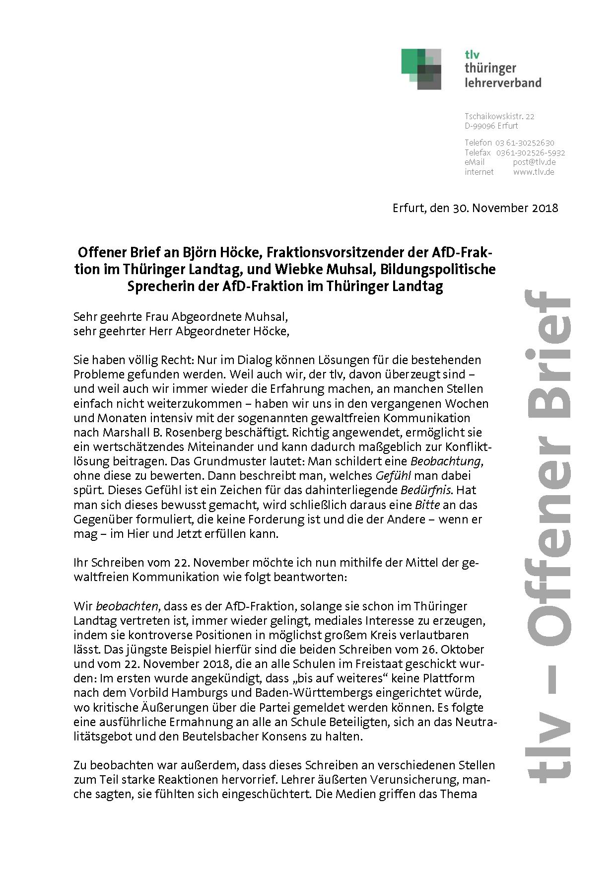 Offener Brief An Afd Fraktion Im Thuringer Landtag Tlv Thuringer Lehrerverband