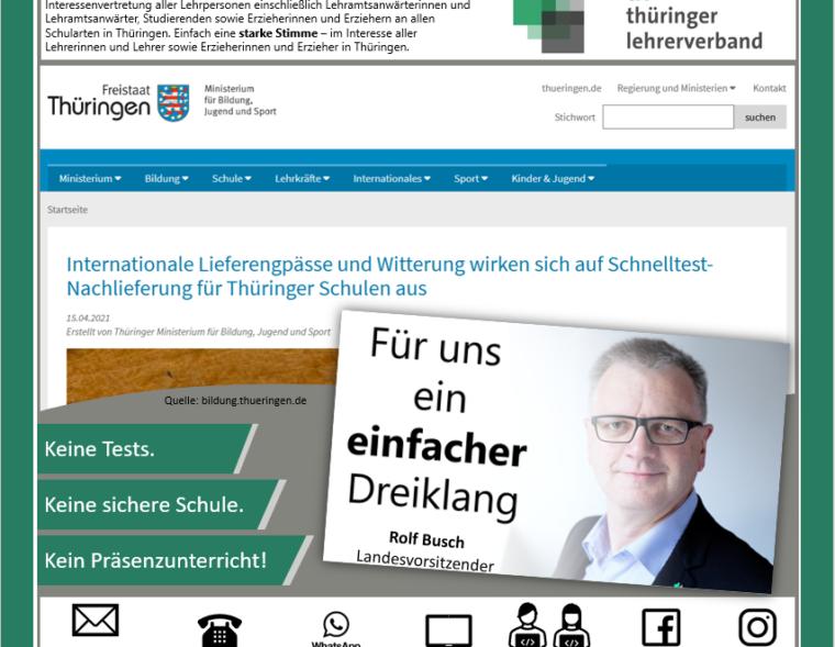 Headerfoto mit Screenshot der Website des Thüringer Ministerium für Bildung, Jugend und Sport.
